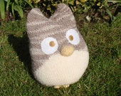 """Ready To Ship: Hand knitted Owl """"Oscar, the confused one"""" ornament door stopper toy"""