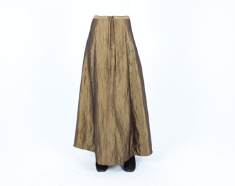 90s METALLIC Bronze Gold IRIDESCENT Raw Silk Look Holographic Shiny Maxi Skirt