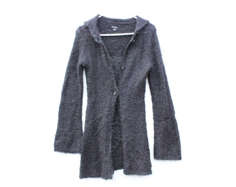 Grungy 90s Mohair Blend Fitted Cardigan w/ Flared Sleeves