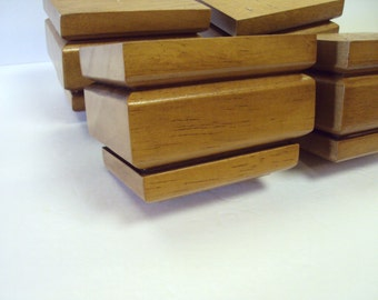 Rectangle Wood Furniture Feet   3 Level   Set Of 4   New