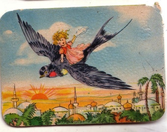 Early 20th century trade card from NYC - Bright colors!  Fly Away on a Black Bird.