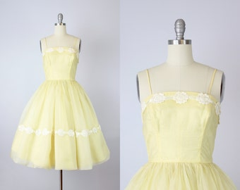 vintage 60s party dress / 1960s yellow dress / full skirt party dress / floral lace dress / crinoline dress / Cotillion Formals dress