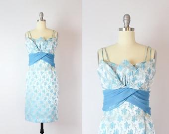 vintage 50s brocade dress / 1950s blue floral brocade party dress / tulip petal bust dress / short satin brocade dress / sash waist dress