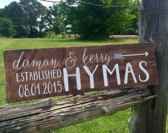 Rustic wedding sign. Family established sign. Wood family sign. Wedding sign. Established sign. Calligraphy sign. Family sign. Family name.
