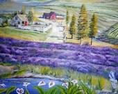 Landscape Oil, Willamette Valley Oil, Farmland, Lavender, Barn, 48 x 27 Original Oil  Farmland Landscape, Original Oil, Dan Leasure Oils
