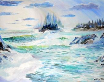 Pacific Northwest Ocean Art, Original Oil Ocean Painting,Dan Leasure Oil 36 x 25 in.