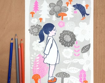 Flower Child... Wonderful Nursery Print - Girl likes Wolf - Little Red Riding Hood Illustration - Kids Wall Art - Home Decor - A4 Kids Print