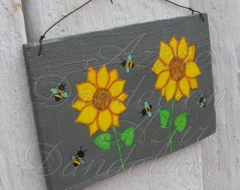 Sunflowers and Honey Bees Painting Urban Home Room Decor Original Primitive Folk Art