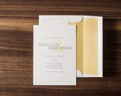 DEPOSIT FOR SIMPLE - Simple Wedding Invitation, Traditional Wedding Invitation Suite, Simple Invite, Yellow and Gray