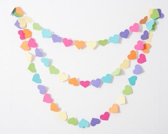 Baby Shower Decor - Heart Garland - Rainbow Baby Shower - Girl Baby Shower Decorations