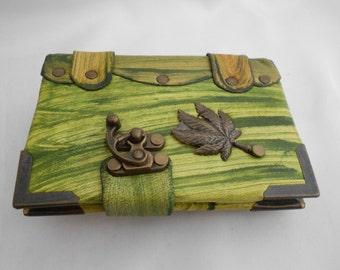 Leather bound journal, Leaf emblem handmade leather notebook, sketchbook , handmade Leather Diary.Leather notebook , leather bound &
