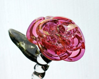 Glass Rose Pink, Hand Blown Long Stemmed Flower, Borosilicate glass Gold Pink Extra Large, Handmade Gift for Her