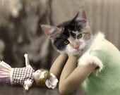 Callie, Cat Print, Anthropomorphic, Whimsical Art, Collage Art, Vintage Cat, Animal Print, Photo Collage, Altered Photo, Unusual Gift