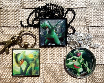 1.5 Diameter Sceptile Glass Pendant HOLO Necklace made from Trading Cards