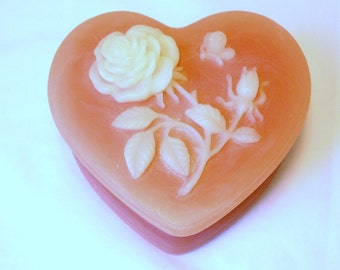 Vintage Heart Trinket Cameo Box Rose Floral Flower Butterfly