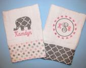 Elephant burp cloths, set of 2 pink and gray; elephant and monogram