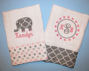 Elephant burp cloths, set of 2 pink and gray; elephant and monogram