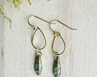 Green Picasso Glass Spear Dangle Earrings- Gold and Green Boho Jewelry -  T101