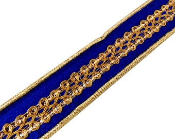 Royal Blue and Gold Sequinned Velvet and Jari Ribbon / Trim / Lace by Yard
