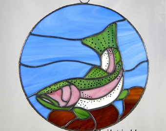 Stained Glass Rainbow Trout Fish Wall Panel - Suncatcher - Rustic Home Decor - Fly Fishing Art - Christmas Gift