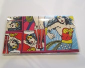 CHECKBOOK COVER  Wonder Woman vinyl protector One of a Kind Custom Handmade Personalized Geek Comic Book Hero Gift for Her Limited Edition