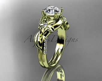 Unique 14kt  yellow gold diamond leaf and vine wedding ring,engagement ring ADLR224