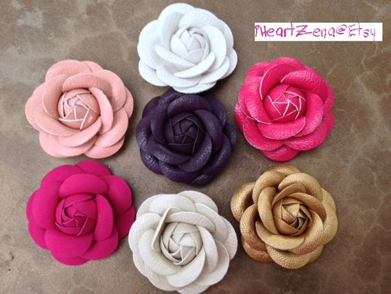 7 pc faux leather flowers for diy embellishment by iheartzena for Leather flowers for crafts