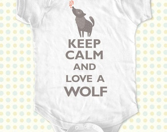 Custom Keep Calm and Love a Wolf kids one-piece or Shirt - Printed on Baby one-piece, Toddler, Youth shirts