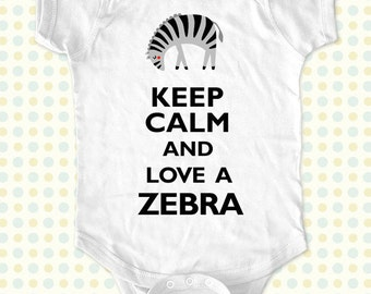 Custom Keep Calm and Love a Zebra kids one-piece or Shirt - Printed on Baby one-piece, Toddler, Youth shirts