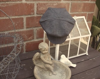 Vintage CHARCOAL grey newsboy hat, beret for boys, Great Gatsby hat