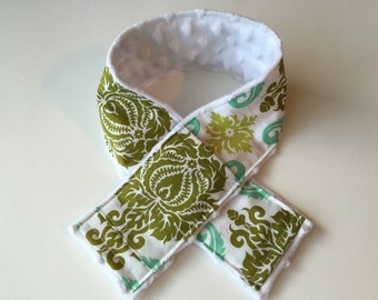 Camera Strap Cover with Lens Cap Pocket - for DSLR digital cameras - Green and White Damask, white minky dot