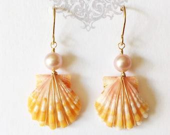 Sunrise shell earrings - orange sunrise shell earrings - shell earrings - beach jewelry (E235)