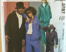McCalls Misses Mens Jogging Sweat Pants Jacket and Hat Sewing Pattern M3787 UC FF Uncut Size s m l 34 36 38 40 42 44