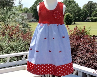 RED  CRABS TANK dress. Crisp blue seersucker embroidered with red crabs... sizes 6mo - 8 years...perfect for sibling sets!