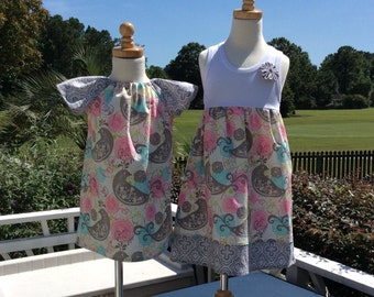 SiSTER SET for SUMMER fun!.. girls tank style dress with coordinating flutter sleeve dress- mix and match