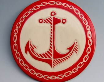 Ceramic Trivet: Handpainted and Carved Nautical Design, Red and White Anchor, Colorful Kitchen Art