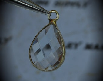 Gold Plated Bezel Brass Faceted Glass Tear Drop Pendant - Clear