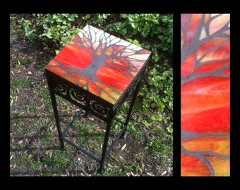 Tree of Life in Silhouette - Stained Glass Mosaic Table