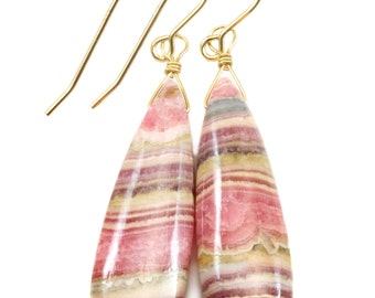 Natural Pink Rhodochrosite Earrings Smooth Large Long Briolette Dangle Drops Sterling Silver or 14k Gold Filled Teardrops AAAA Quality