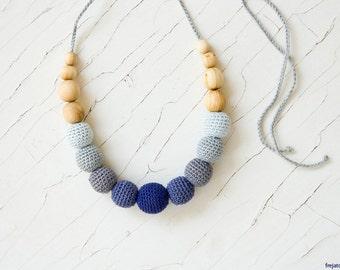 Nursing / Breastfeeding Necklace, Teething Necklace, Babywearing, Attachment Parenting - Gray Gradient, Juniper - FrejaToys