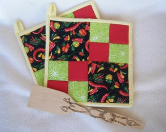 Hot Chili's Quilted Potholders - Set of 2 - HANDMADE BY ME
