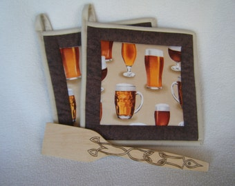 Fabulous Beer Mug Fabric Quilted Potholders - Set of 2 - HANDMADE BY ME