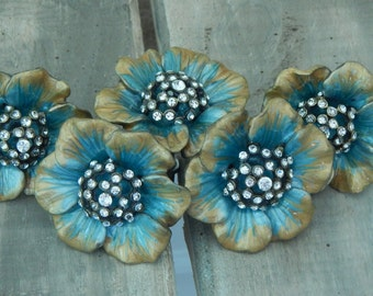 Turquoise and Gold Crystal Studded Flower Knob