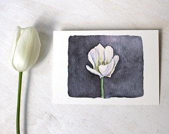 White Tulip Watercolor Painting, Tulip Art Print, Dark Blue Black Purple, Elegant Dramatic, Spring Flower, Botanical Art, Floral Painting