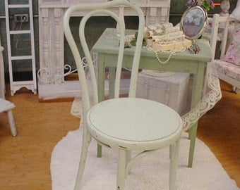Bentwood Cafe Chair Vintage Shabby Chic Painted French Cottage Mint Green