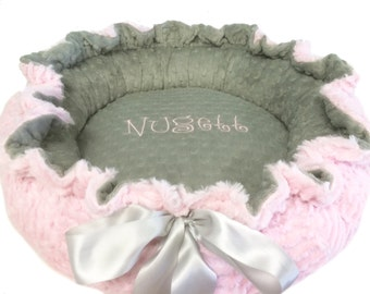 Small Size Dog Bed, Pet Bed, Personalized Dog Bed, Baby Pink and Gray Minky Dog Bed