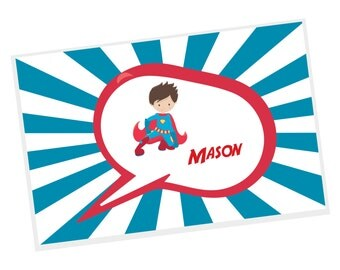 SuperHero Personalized Placemat - SuperHero Blue Sunray Red Cape with Name, Customized Laminated Placemat