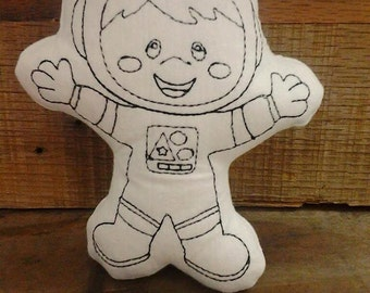 Doodle Its Astronaut Stuffed plush Embroidery Design-Instant Download