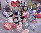 Lot of 50 mixed cameos 30x40 Destash Findings Unset Victorian