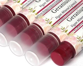 "Vegan Berry Lipstick - ""Geranium"" (bright raspberry pink lipstick) natural lip tint, balm, lip colour mineral lipstick"